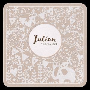Vrolijk geboortekaartje met olifant slingers en bloemen I 718029