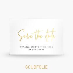 Goudfolie Save the Date kaart clean met sierlijke letters