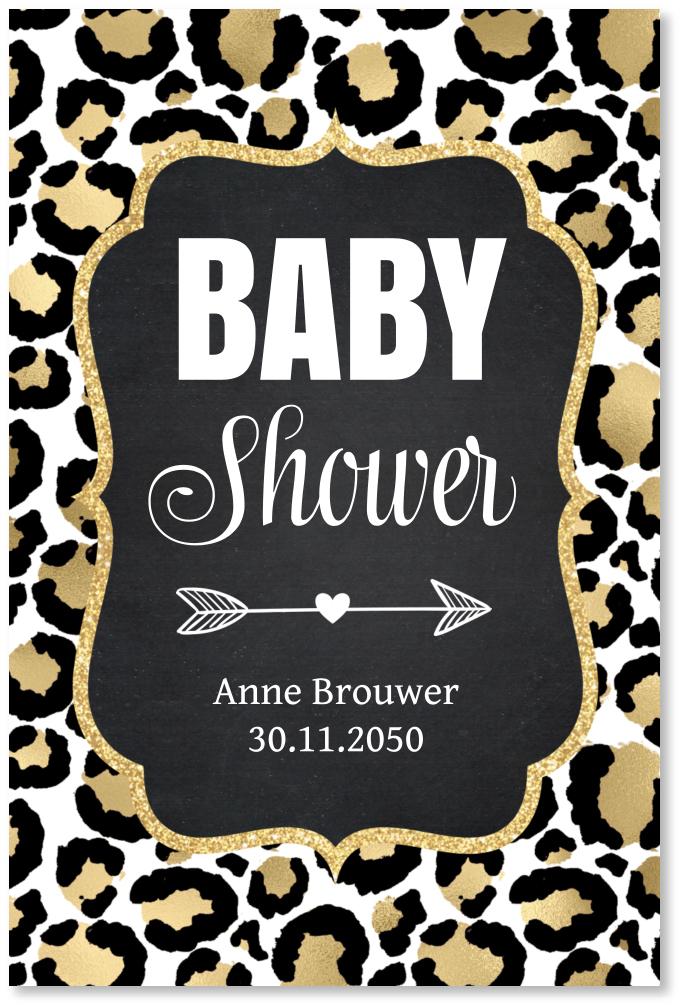 Babyshower uitnodiging panterprint