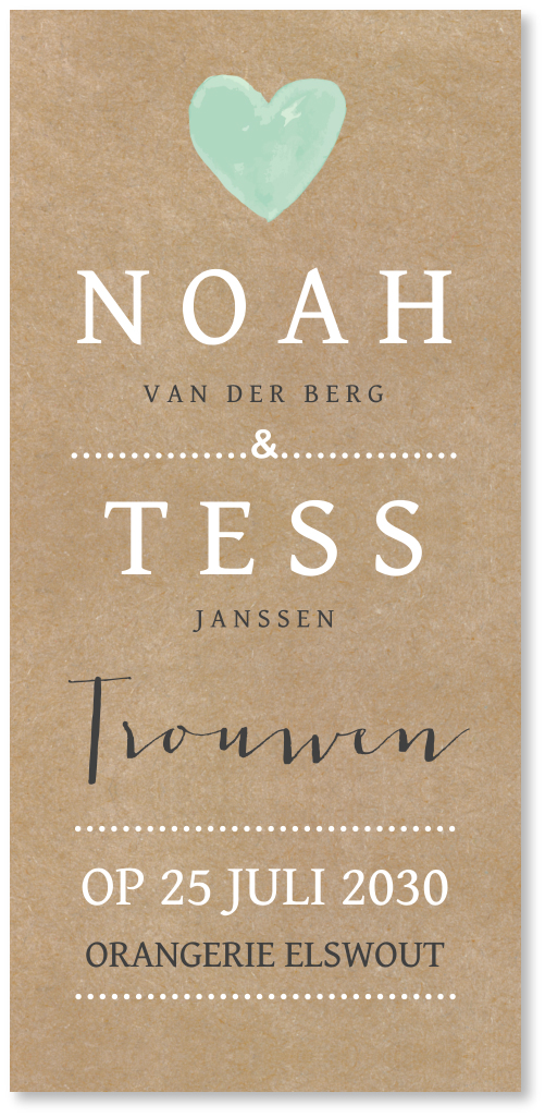 Trouwkaart kraft typografie