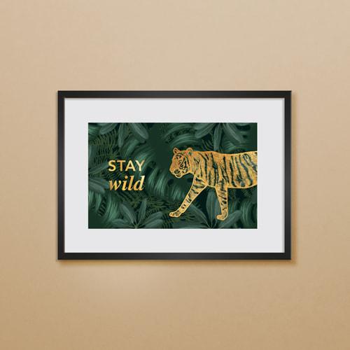 Poster tijger met goudfolie tekst - 40x30 cm