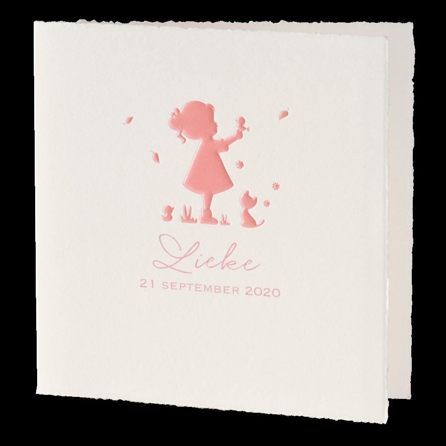 Geboortekaartje van Buromac met meisje in silhouet I 586094