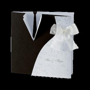 Originele trouwkaart met bruiloftskleding I 103055