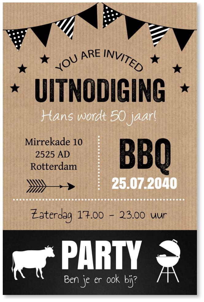 BBQ uitnodiging typografie