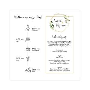 Goudfolie trouwkaart met dagindeling