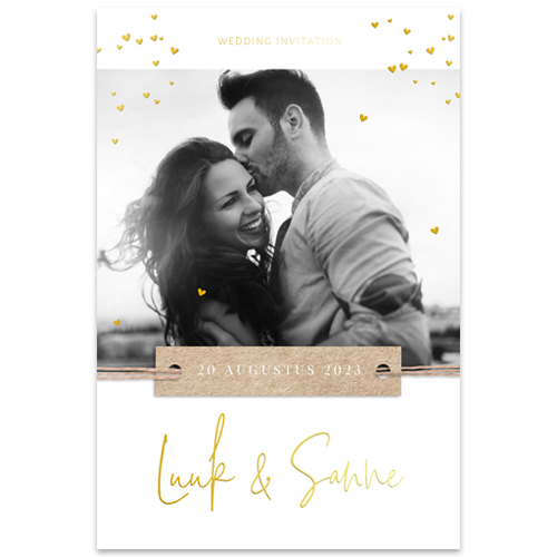 Goudfolie trouwkaart met foto en écht label
