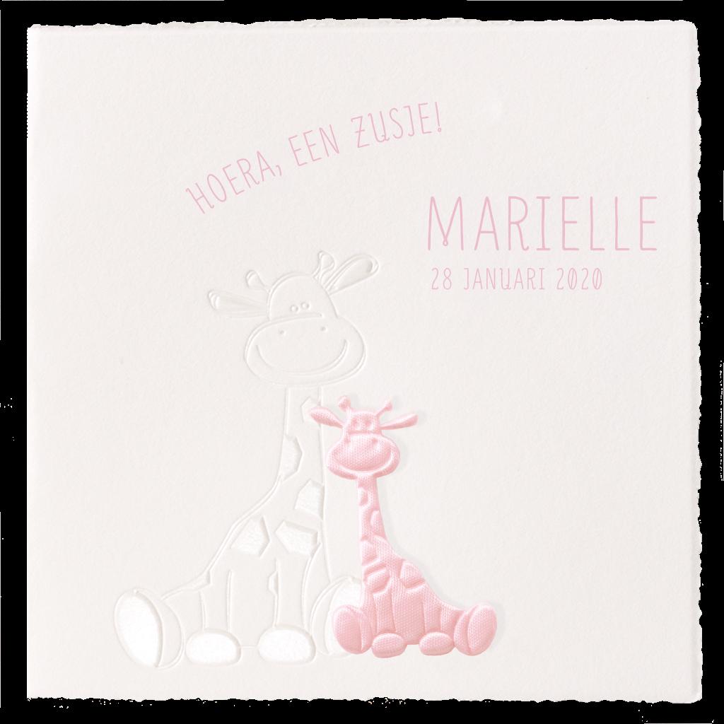 Klassiek geboortekaartje met giraffe voor zusje I 713109
