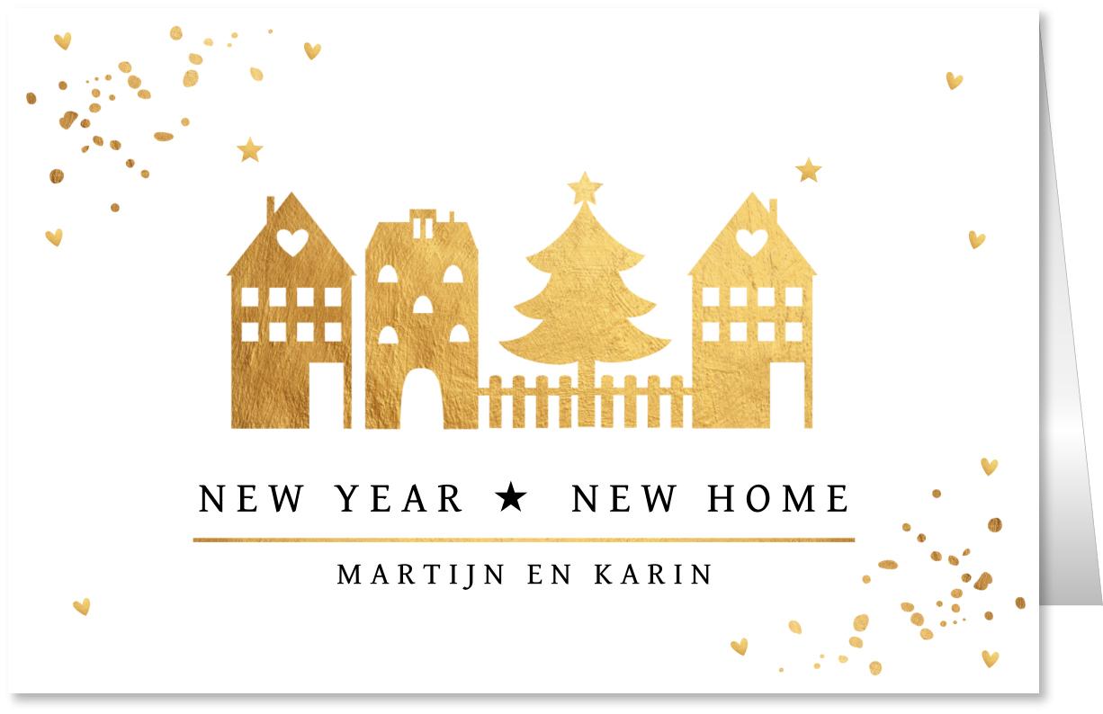 Kerstverhuiskaart goud huisjes