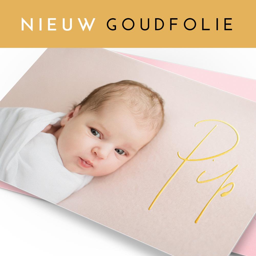 Geboortekaartje echt goudfolie en persoonlijke foto