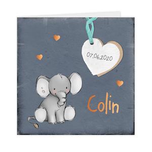 Koperfolie geboortekaartje met olifantje en hart