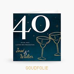Goudfolie uitnodiging 40 jaar getrouwd met cocktailglazen