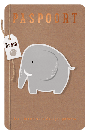 Paspoort geboortekaartje met olifant