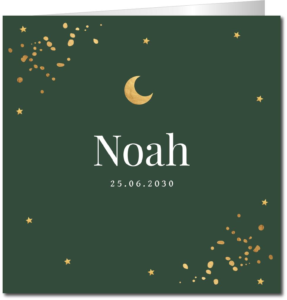 Geboortekaartje confetti goudlook maantje