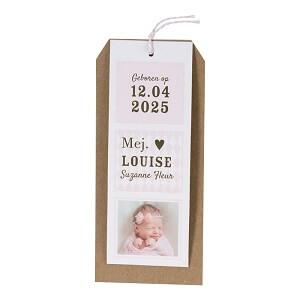 Label-geboortekaart met foto en roze ruitjes I Buromac 589068