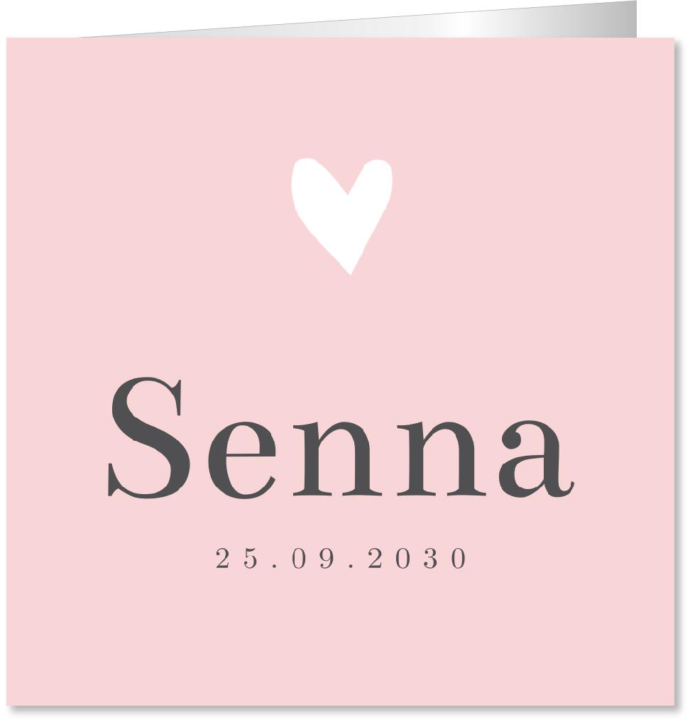 Geboortekaartje hartje roze