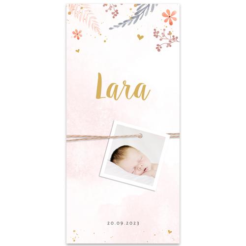 Lief meisjeskaartje met bloempjes, aquarel en écht label