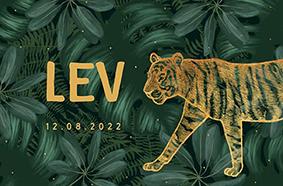 Originele botanische geboortekaartje met gouden tijger