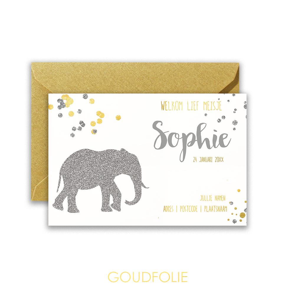 Zilverfolie geboortekaartje silhouet olifantje glitter