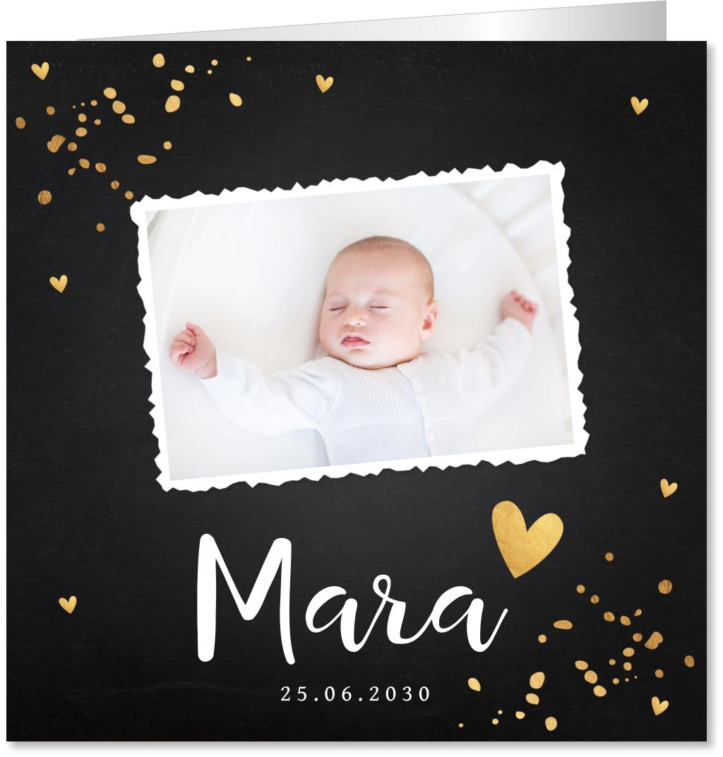 Geboortekaartje foto confeti