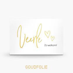 Goudfolie geboortekaartje meisje met sierlijke letters en foto