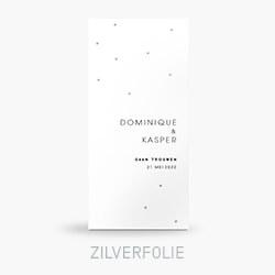 Trouwkaart zilverfolie in een clean ontwerp met stippen