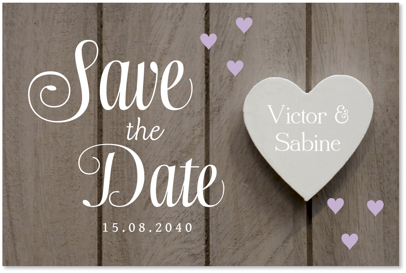 Save the Date kaart houtprint