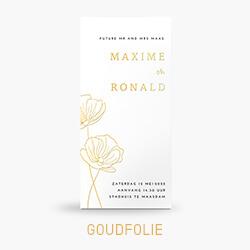 Trouwkaart goudfolie met bloemen in lijntekening