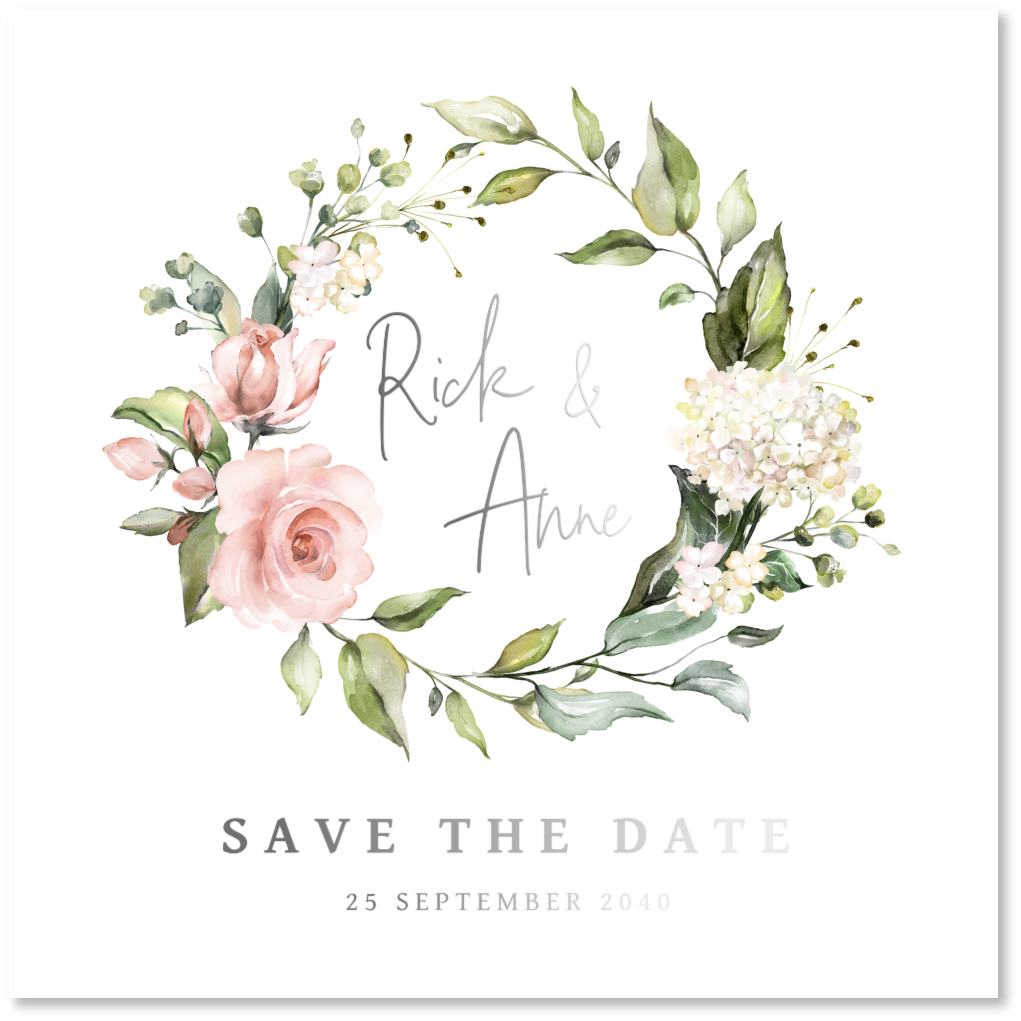 ZILVERFOLIE Save the Date kaart bloemenkrans