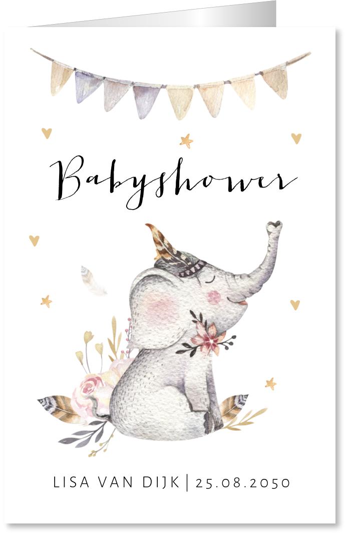 Babyshowerkaart olifantje