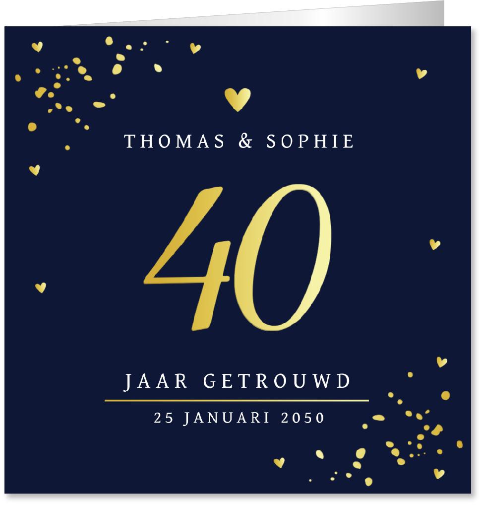 GOUDFOLIE Jubileumkaart 40 jaar getrouwd goudfolie