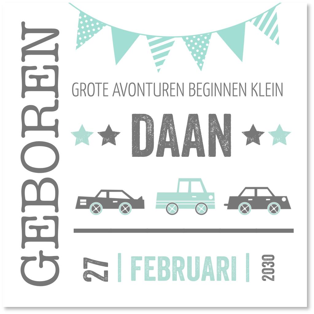 Geboortekaartje typografie auto's