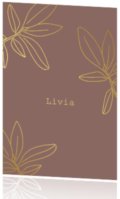 Geboortekaartje voor een meisje met bladeren in goudfolie