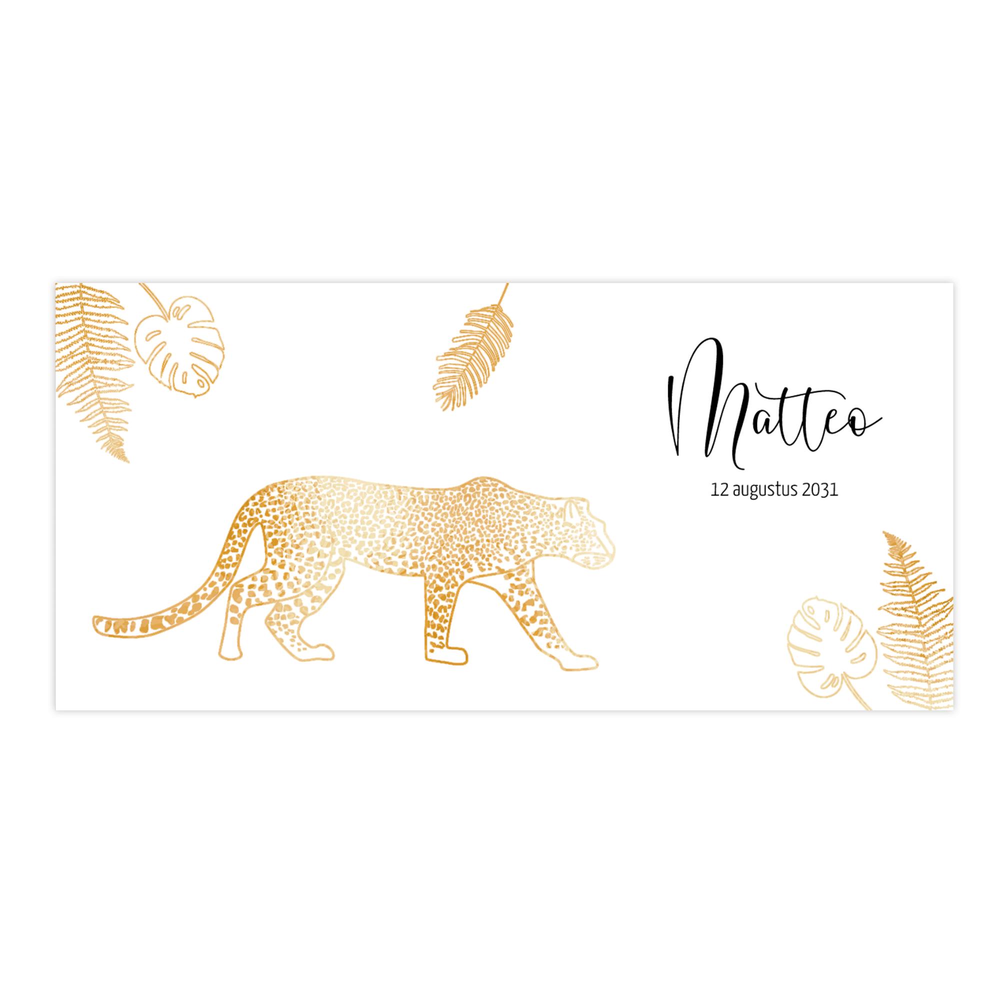 Hip goudfolie geboortekaartje met luipaard en botanische bladeren