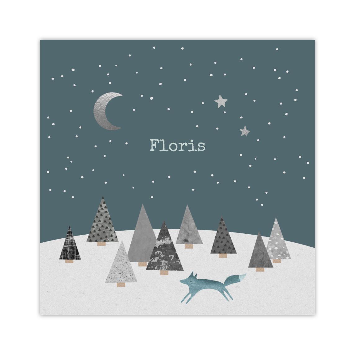 Stoere folie-geboortekaart met vosje bij nacht
