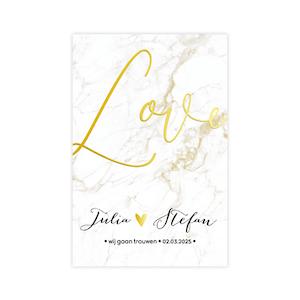 Goudfolie trouwkaart met stijlvol marmer en goud