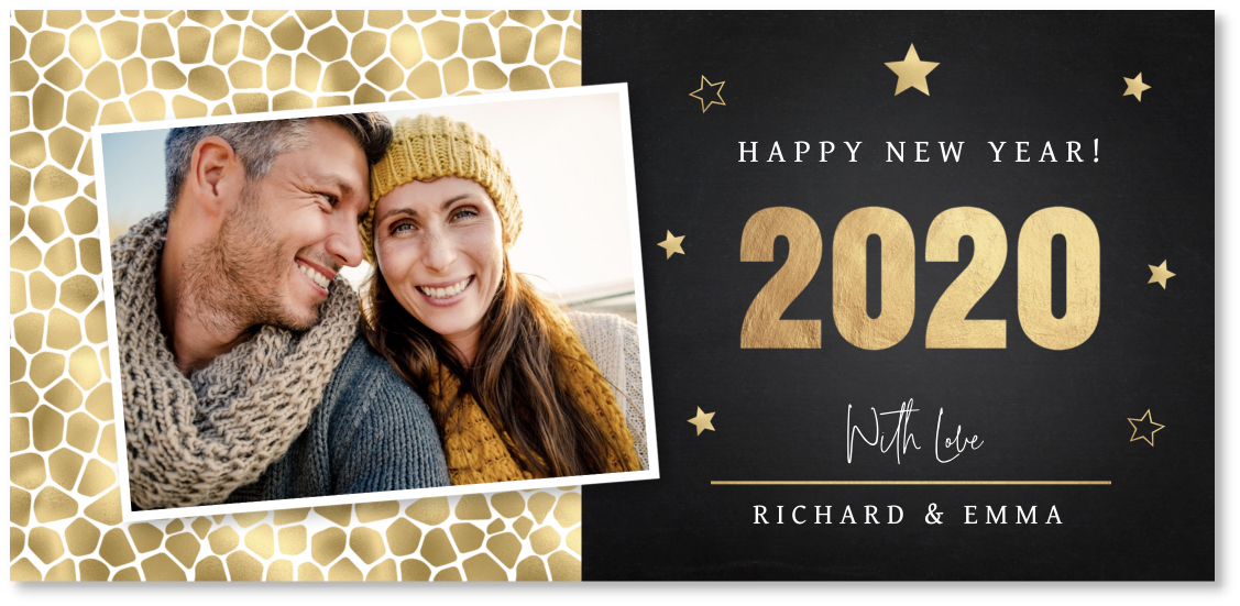 Kerstkaart foto confetti goud panorama
