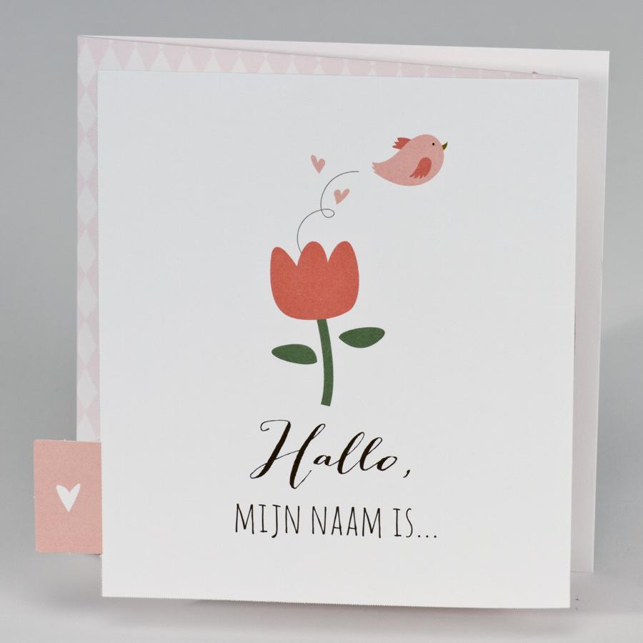 Romantisch geboortekaartje met tulp en vogeltje 507002