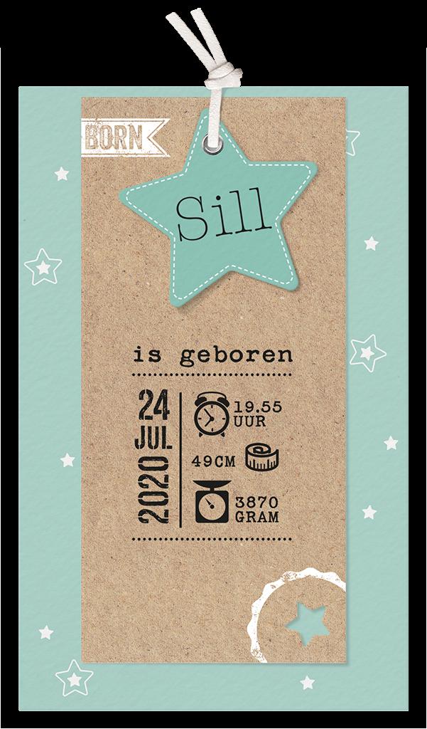 Stoer geboortekaartje met kraft en groen I 717035x