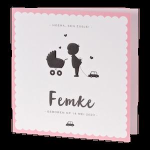 Silhouet geboortekaartje met roze rand I Buromac 505094