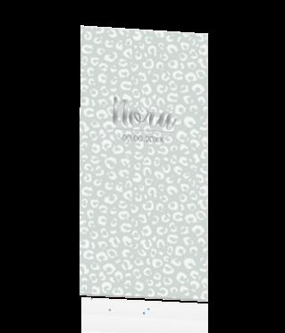 Geboortekaart met dubbelzijdige folie op mintgroen met panterprint