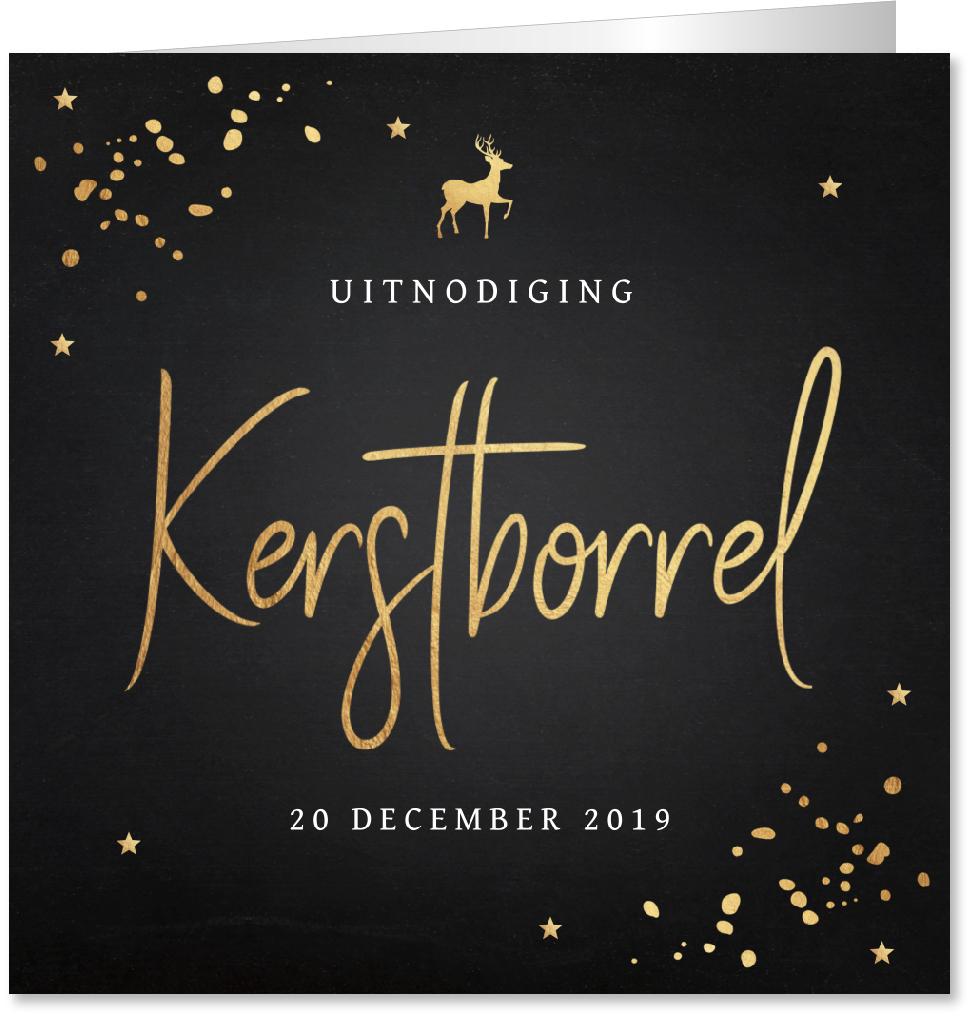 Kerstborrel uitnodiging confetti goudlook