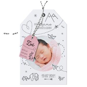 Trendy label-geboortekaart met foto I 718008m
