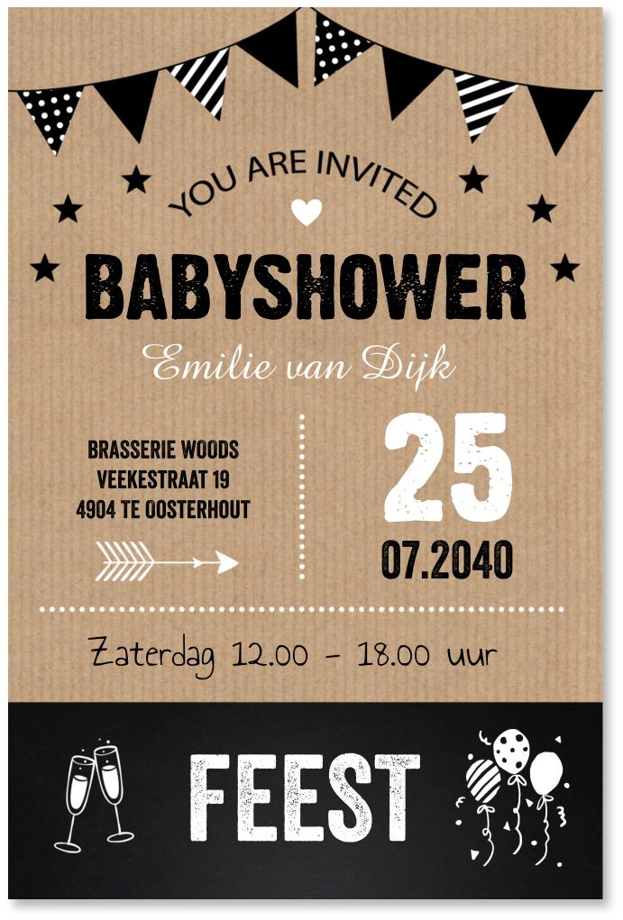 Babyshowerkaart typografie kraft