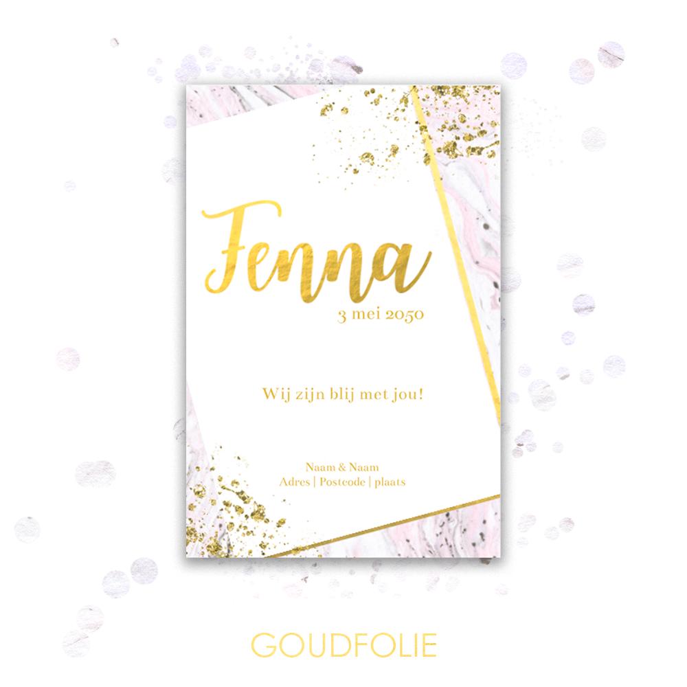 Goudfolie geboortekaartje met goud en marmer