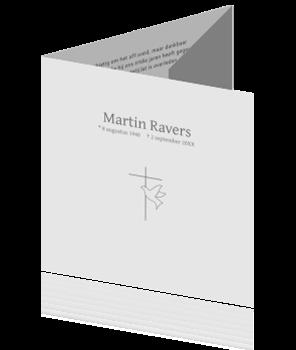 Drieluik rouwkaart met duifje en kruisje