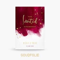 Trouwkaart met goudfolie en rode verfstrepen
