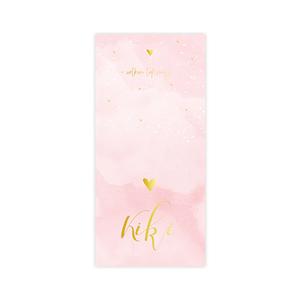 Lieve goudfolie geboortekaart meisje roze waterverf hartjes en spatten