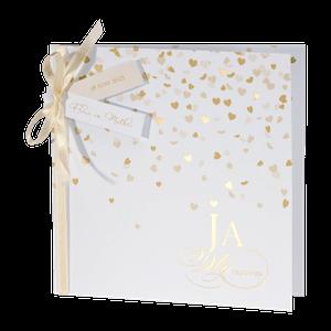 Feestelijke trouwkaart met goudkleurige hartjes I Buromac 108013