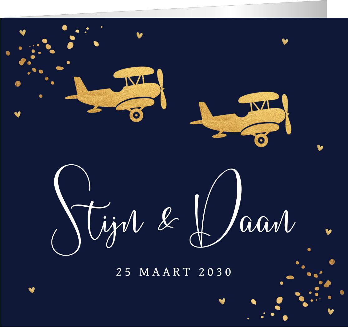 Geboortekaartje tweeling vliegtuigjes