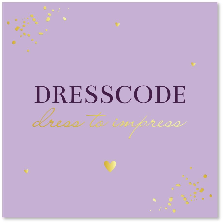 GOUDFOLIE Dresscode kaartje paars lila goud